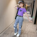 suit Shun Yi Bei Er Black violet 120cm 130cm 140cm 150cm 160cm 170cm female summer Korean version Short sleeve + pants 2 pieces Thin money There are models in the real shooting Socket nothing Animal design cotton children Expression of love Class B