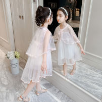 Dress Pink Blue female Shun Yi Bei Er 110cm 120cm 130cm 140cm 150cm 160cm Other 100% summer Korean version Solid color Netting A-line skirt Class B Summer 2021 3 years old, 4 years old, 5 years old, 6 years old, 7 years old, 8 years old, 9 years old, 10 years old, 11 years old, 12 years old