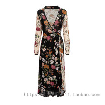 Dress Winter of 2018 Picture color XL,L,M,S longuette singleton  Long sleeves street V-neck High waist Broken flowers other other routine Others Lace up, stitching, printing 71% (inclusive) - 80% (inclusive) cotton Europe and America