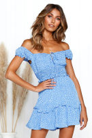 Dress Summer of 2019 Blue, red L,M,S Short skirt singleton  Short sleeve street One word collar High waist Dot other other routine Others Print, lace up 71% (inclusive) - 80% (inclusive) other Europe and America