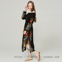 Dress Spring of 2018 black XL,L,M,S longuette singleton  Long sleeves Sweet One word collar Elastic waist Broken flowers Socket routine Breast wrapping Embroidery LN6211 81% (inclusive) - 90% (inclusive) cotton Bohemia