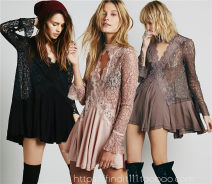 Dress Spring 2020 Short skirt Two piece set Long sleeves street V-neck Loose waist Solid color Socket Princess Dress Petal sleeve Others Type A 51% (inclusive) - 70% (inclusive) Lace cotton Europe and America