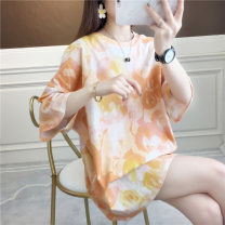 T-shirt Orange yellow purple blue M L XL 2XL Summer 2020 Short sleeve Crew neck easy Medium length routine commute cotton 96% and above 18-24 years old Korean version originality Cartoon animation gradient Love of butterfly lf1017 printing Cotton 100% Pure e-commerce (online only)
