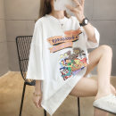 T-shirt M L XL 2XL Summer 2020 elbow sleeve Crew neck easy Medium length routine commute polyester fiber 51% (inclusive) - 70% (inclusive) 18-24 years old Korean version originality Cartoon letters Love of butterfly printing Polyester 65% Cotton 30% polyurethane elastic fiber (spandex) 5%