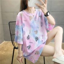Women's large Summer 2020 Pink yellow purple green M L XL 2XL T-shirt singleton  commute easy Socket Short sleeve letter Crew neck Medium length cotton routine junj1579 Love of butterfly 18-24 years old 71% (inclusive) - 80% (inclusive) Middle-skirt Cotton 80% polyester 20% Hollowing out