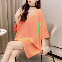 T-shirt Orange pink black M L XL 2XL Summer 2021 Short sleeve V-neck easy Medium length routine commute polyester fiber 51% (inclusive) - 70% (inclusive) 18-24 years old Korean version originality letter Love of butterfly junj2729 printing Pure e-commerce (online only)