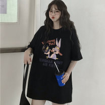 T-shirt M L XL 2XL Summer of 2019 Short sleeve Crew neck easy Medium length commute polyester fiber 51% (inclusive) - 70% (inclusive) 18-24 years old Korean version originality Cartoon letters Love of butterfly printing Polyester 65% Cotton 30% polyurethane elastic fiber (spandex) 5%