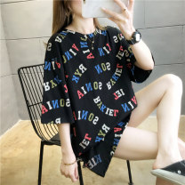 T-shirt Black and white M L XL 2XL Summer 2020 Short sleeve Crew neck easy Medium length routine commute polyester fiber 51% (inclusive) - 70% (inclusive) 18-24 years old Korean version originality letter Love of butterfly printing Polyester 65% Cotton 30% polyurethane elastic fiber (spandex) 5%