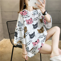 T-shirt M L XL 2XL Spring 2020 elbow sleeve Crew neck easy Medium length routine commute cotton 96% and above 18-24 years old Korean version originality Cartoon letters Love of butterfly printing Cotton 100% Pure e-commerce (online only)