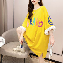 Dress Spring 2021 Pink yellow white M L XL 2XL Mid length dress singleton  Short sleeve commute Crew neck middle-waisted letter Socket A-line skirt routine 18-24 years old Love of butterfly Korean version Stitched lace print junj2715 51% (inclusive) - 70% (inclusive) other polyester fiber