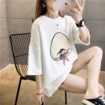 T-shirt Blue White Black Pink M L XL 2XL Spring 2020 Short sleeve Crew neck easy Medium length routine commute polyester fiber 51% (inclusive) - 70% (inclusive) 18-24 years old Korean version originality Cartoon animation Love of butterfly junj844 printing Pure e-commerce (online only)