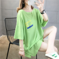 T-shirt Green White Pink M L XL 2XL Spring 2020 Short sleeve Crew neck easy Medium length routine commute polyester fiber 51% (inclusive) - 70% (inclusive) 18-24 years old Korean version originality letter Love of butterfly junj824 printing Pure e-commerce (online only)