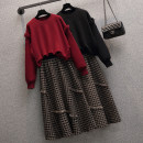 Women's large Winter 2020 Single black coat single red coat single check skirt black coat + skirt suit red coat + skirt suit Other oversize styles Two piece set commute easy moderate Socket Long sleeves Korean version Crew neck routine Three dimensional cutting AITI 25-29 years old Middle-skirt other