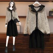 Women's large Winter 2020 One coat one dress two piece set Large L (recommended 90-115 kg) Large XL (recommended 115-135 kg) large 2XL (recommended 135-155 kg) large 3XL (recommended 155-175 kg) large 4XL (recommended 175-200 kg) Other oversize styles Two piece set commute easy thick Cardigan routine