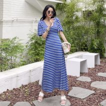 Dress Summer 2020 Blue stripe, black stripe S,M,L,XL longuette singleton  Short sleeve commute V-neck middle-waisted stripe Socket Big swing pagoda sleeve Others 18-24 years old Other / other Korean version Splicing 81% (inclusive) - 90% (inclusive) brocade cotton