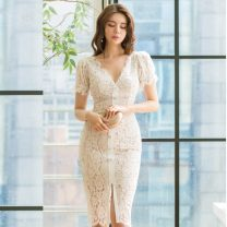 Dress Autumn 2020 white S,M,L,XL Middle-skirt singleton  Short sleeve commute V-neck High waist Solid color zipper One pace skirt routine Others 25-29 years old Type H Korean version Stitching, zipper, lace 81% (inclusive) - 90% (inclusive) Lace polyester fiber