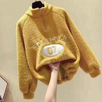 Sweater / sweater Winter 2020 Off white yellow blue M L XL 2XL Long sleeves routine Socket singleton  Plush High collar easy commute other Cartoon animation 18-24 years old Mikaz Korean version PQHJ65739 Pure e-commerce (online only) zipper