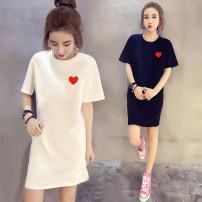 Dress Summer 2020 S M L XL 2XL 3XL 4XL 5XL Mid length dress singleton  Short sleeve commute Crew neck Loose waist Cartoon animation Socket One pace skirt routine 18-24 years old Mikaz Korean version printing More than 95% polyester fiber Other polyester 95% 5% Pure e-commerce (online only)