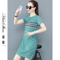 Dress Summer 2021 Jade green rose red blue red M L XL 2XL 3XL longuette singleton  Short sleeve commute Crew neck middle-waisted Decor Socket A-line skirt routine 25-29 years old Type A Han Xin Korean version printing 2698-75-HYLC JH 81% (inclusive) - 90% (inclusive) Chiffon cotton