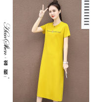 Dress Summer 2021 Black red yellow M L XL 2XL longuette singleton  Short sleeve commute Crew neck Loose waist letter Socket A-line skirt routine Others 25-29 years old Type H Han Xin Korean version printing 91% (inclusive) - 95% (inclusive) brocade cotton