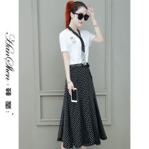 Dress Summer 2021 Black and white M L XL 2XL longuette Two piece set Short sleeve commute V-neck High waist Dot Socket A-line skirt routine 25-29 years old Type A Han Xin Korean version printing 1929-82-XWFN KOL More than 95% Chiffon polyester fiber Polyester 100% Pure e-commerce (online only)