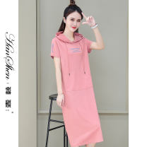 Dress Summer 2021 Hulan grey green pink black M L XL 2XL 3XL longuette singleton  Short sleeve commute Hood letter Socket other routine 25-29 years old Type A Han Xin Korean version pocket 691-83-JVM G 31% (inclusive) - 50% (inclusive) nylon Pure e-commerce (online only)