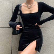 Dress Autumn 2020 Purple, red, black XS,S,M,L,XL Short skirt singleton  Long sleeves square neck Solid color Socket A-line skirt routine 18-24 years old Splicing AD9041A 91% (inclusive) - 95% (inclusive) Chloroprene