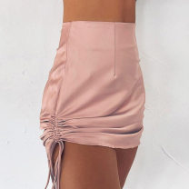 skirt Autumn 2020 S,M,L Black, pink Short skirt sexy High waist A-line skirt Solid color Type A D1733715A 81% (inclusive) - 90% (inclusive) other polyester fiber