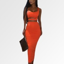Dress Summer 2021 White, khaki, black, orange, high-grade double seamless design S,M,L,XL longuette Two piece set Sleeveless street One word collar High waist Solid color Socket One pace skirt camisole 18-24 years old Type H NewAsia Garden Hollowing out SUM550 31% (inclusive) - 50% (inclusive) cotton