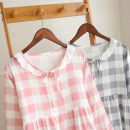 Nightdress Other / other 160(M),165(L) Sweet Long sleeves pajamas longuette summer lattice youth Crew neck cotton More than 95%