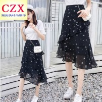 skirt Summer of 2018 S,M,L,XL Black, collection skirt, small gift Middle-skirt street High waist A-line skirt Decor Type A 18-24 years old 81% (inclusive) - 90% (inclusive) Chiffon Other / other zipper