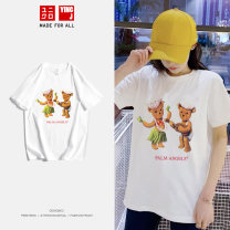 T-shirt Hula bear dance white T Hula bear dance Black T XS S M L XL 2XL 3XL Spring 2020 Short sleeve Crew neck easy Regular routine street cotton 96% and above originality Animal design letters Yingjie Street Hula bear dance printing Cotton 100% Pure e-commerce (online only) Europe and America