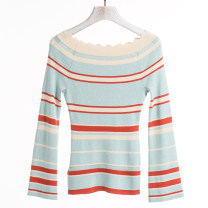 Wool knitwear Spring 2021 2XL,XL,L,M,S,XS Orange stripe on green background Long sleeves singleton  Socket Viscose 71% (inclusive) - 80% (inclusive) Regular routine commute Self cultivation routine Socket 25-29 years old Dieyaoxuan