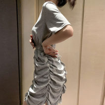 Dress Summer 2021 Grey black M L XL XXL Mid length dress singleton  Short sleeve commute Crew neck High waist Solid color other Pleated skirt routine straps 18-24 years old Type A Kotaff Korean version Pleating KTFD527 More than 95% polyester fiber Polyester 100% Pure e-commerce (online only)