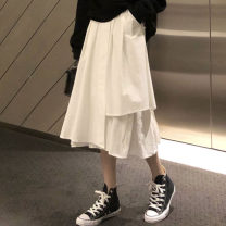 skirt Summer 2021 M L XL Black and white Mid length dress commute High waist Irregular Solid color Type A 18-24 years old KTFD504 More than 95% Kotaff polyester fiber Korean version Polyester 100% Pure e-commerce (online only)