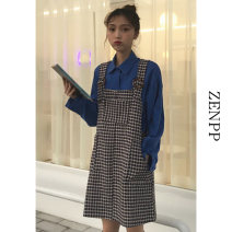 shirt Shirtsleep skirt Average size Spring 2021 other 96% and above Long sleeves Versatile Regular Polo collar Single row multi button routine lattice 18-24 years old Self cultivation ZENPP Other 100% Pure e-commerce (online only)
