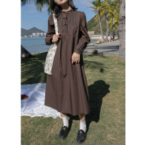 Dress Spring 2021 White, coffee XS,S,M Mid length dress singleton  Long sleeves street Loose waist Solid color routine 18-24 years old Type H Hello, canon 91% (inclusive) - 95% (inclusive) cotton