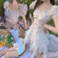 Dress Summer 2021 White < top >, pink < top >, blue purple < top >, white < dress >, pink < dress >, blue purple < dress > Mid length dress singleton  Short sleeve Sweet One word collar High waist Broken flowers zipper Ruffle Skirt puff sleeve Others 18-24 years old Type A BON21HIZ TD1882 organza
