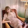 Dress Summer 2020 White (cheongsam dress), pink (cheongsam dress), white (cheongsam top), pink (cheongsam top), white (cheongsam skirt), pink (cheongsam skirt) S < spot >, m < spot >, l < spot > Short skirt singleton  Short sleeve Sweet Half high collar middle-waisted Solid color Single breasted Lace