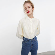 shirt Off white S,M,L Autumn 2020 cotton 96% and above Long sleeves Sweet Regular Doll Collar Single row multi button routine stripe 25-29 years old Straight cylinder Button Poplin