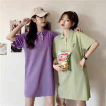 Women's large Summer 2020 Purple green M L XL T-shirt singleton  commute easy thin Socket Short sleeve Cartoon letters Polo collar routine cotton routine Miss Song 18-24 years old Polyester 63.4% cotton 34.1% polyurethane elastic fiber (spandex) 2.5% Pure e-commerce (online only)