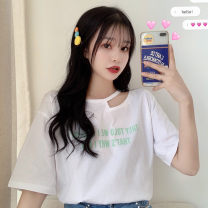 Women's large Summer 2020 White orange M L XL T-shirt singleton  commute easy thin Socket Short sleeve Cartoon letters Korean version Crew neck routine cotton routine HZT2183 Miss Song 18-24 years old Polyester 63.4% cotton 34.1% polyurethane elastic fiber (spandex) 2.5% Pure e-commerce (online only)