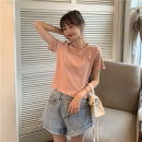 Women's large Summer 2020 Pink white yellow M L XL T-shirt singleton  commute easy thin Socket Short sleeve Cartoon letters Korean version Crew neck routine cotton routine HZT2272 Miss Song 18-24 years old Cotton 100% Pure e-commerce (online only)
