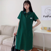 Women's large Summer 2020 Green black grey M L XL XXL T-shirt singleton  commute easy moderate Socket Short sleeve Shape abstract pattern Korean version Polo collar Medium length cotton printing and dyeing routine Miss Song 18-24 years old Button Pure e-commerce (online only) Single row two buttons