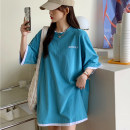 Women's large Summer 2021 White Black Lake Blue M L XL T-shirt Fake two pieces commute easy thin Socket Short sleeve Korean version Crew neck Medium length routine AA797 Miss Song 18-24 years old Polyester 63.4% cotton 34.1% polyurethane elastic fiber (spandex) 2.5% Pure e-commerce (online only)