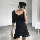 Dress Spring of 2019 Black white dots, (smaller size, larger than usual) XS,S,M,L Short skirt singleton  elbow sleeve square neck High waist Dot puff sleeve 18-24 years old bow