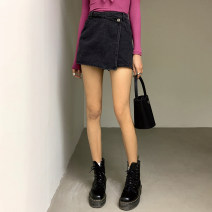skirt Spring 2021 XS,S,M,L Short skirt High waist A-line skirt Solid color Type A 71% (inclusive) - 80% (inclusive) other other Button