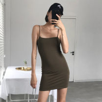 Dress Summer of 2019 Black, red, khaki, army green S, M singleton  Sleeveless Solid color camisole