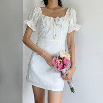 Dress Spring 2020 white S,M,L Short skirt singleton  Short sleeve street square neck High waist Solid color Socket A-line skirt puff sleeve Others 18-24 years old Type A Lace, lace 71% (inclusive) - 80% (inclusive) other acrylic fibres Europe and America