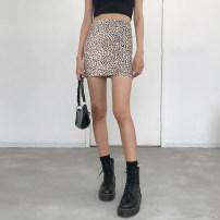 skirt Summer of 2019 S, M Black, leopard print Short skirt High waist skirt Animal pattern